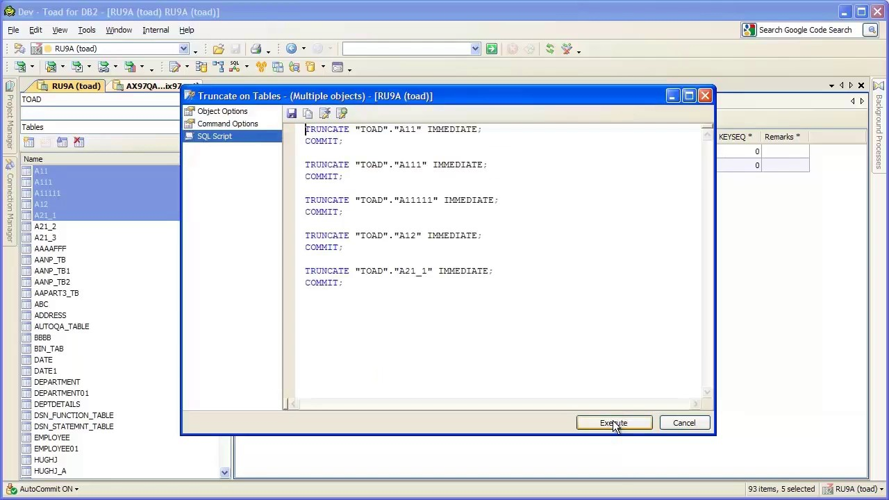 How To Automatically Truncate Tables With Toad For Db2 You -u003e Credit to  //.youtube.com/watch?vu003da0A5nCj2McQ  sc 1 st  Elcho Table : truncate table reuse storage  - Aquiesqueretaro.Com