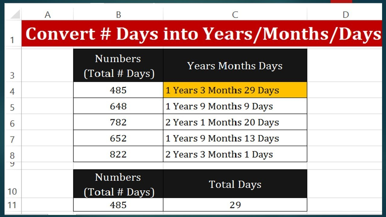 How To Convert Days Into Years Months And In Excel 2017