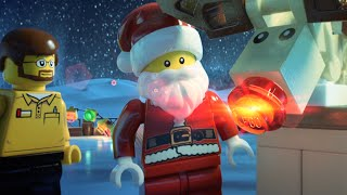 Santa and Rudolph Helping Hands - LEGO Minifigure Family Holiday Card