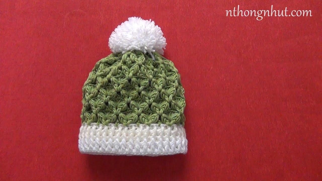 Crochet 3D baby hat tutorial (Eng sub) I Cách móc nón len họa tiết 3D cho bé sơ sinh