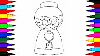 Heart Shaped Gumball Machine Coloring Pages l How To Draw Gum Machine Videos For Kids Rainbow Colors