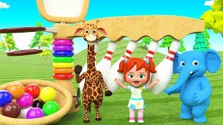 Elephant Giraffe Animals Fun Play Bowling Alley 3D Color Balls for Kids | Learn Colors & Numbers