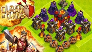 "CLASH OF CLANS -MAX LVL TROLL BASE! (WILL IT DEFEND?!)""FUNNY MOMENTS+MAX VS MIN TROOPS""(TH10 NOOB)"