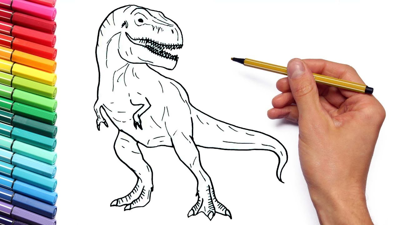 How To Draw A Dinosaur From Jurassic World For Children T Rex