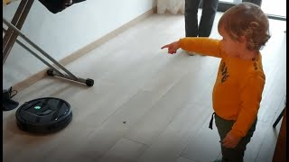 Curious Baby Scared by Vacuum Cleaner Roomba - Funniest Home Videos