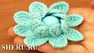 How To Crochet 2-Layered Petal 3D Flower Урок 97 Сложные или комбинированные столбики в цветки