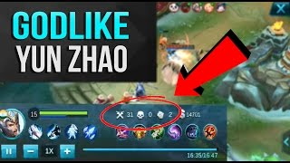MOBILE LEGENDS GAMEPLAY | MOBILE LEGENDS YUN ZHAO GODLIKE