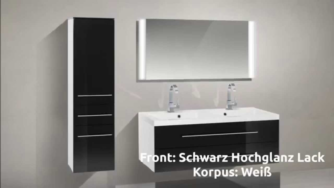 novelli badm bel set mit waschbecken und 120 cm doppelwaschtisch youtube. Black Bedroom Furniture Sets. Home Design Ideas