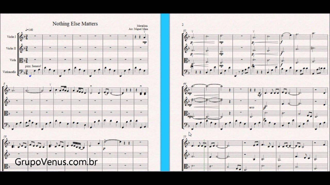 Nothing Else Matters Metallica Arrangement - Free Sheet Music for Violin  and String Quartet