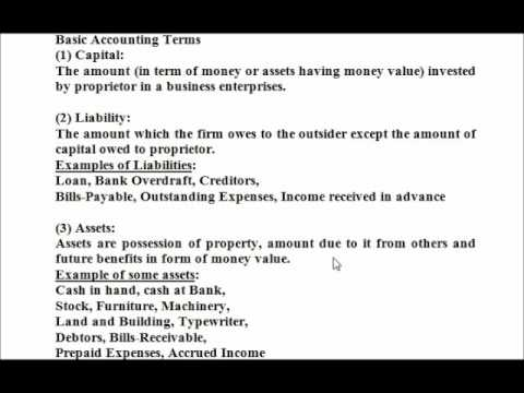 Basic Accounting Terms - YouTube
