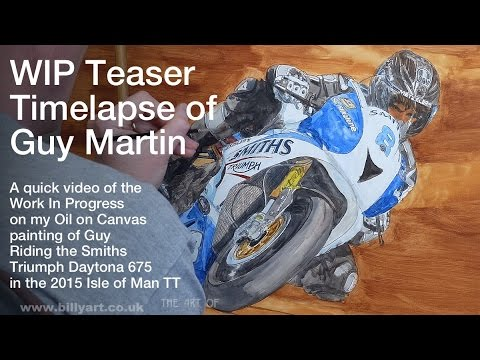 Isle of Man TT Guy Martin Smiths Triumph 2015 TT oil painting WIP timelapse