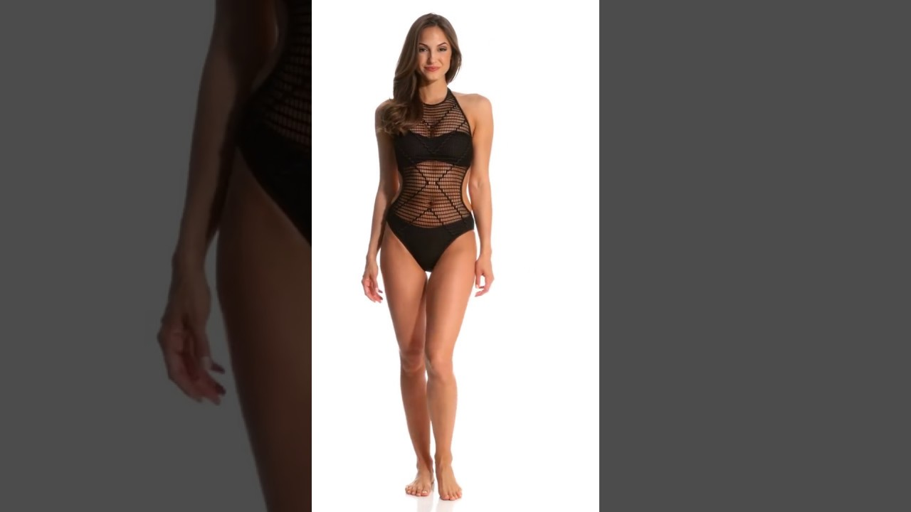 eebe7edc84 Kenneth Cole Wrapped In Love High Neck One Piece Swimsuit | SwimOutlet.com