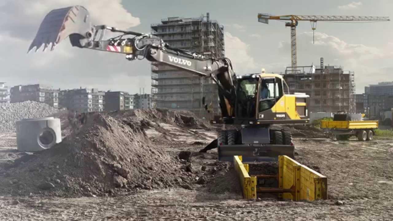 Volvo EW160E, EW180E Wheeled Excavators promotional video - YouTube