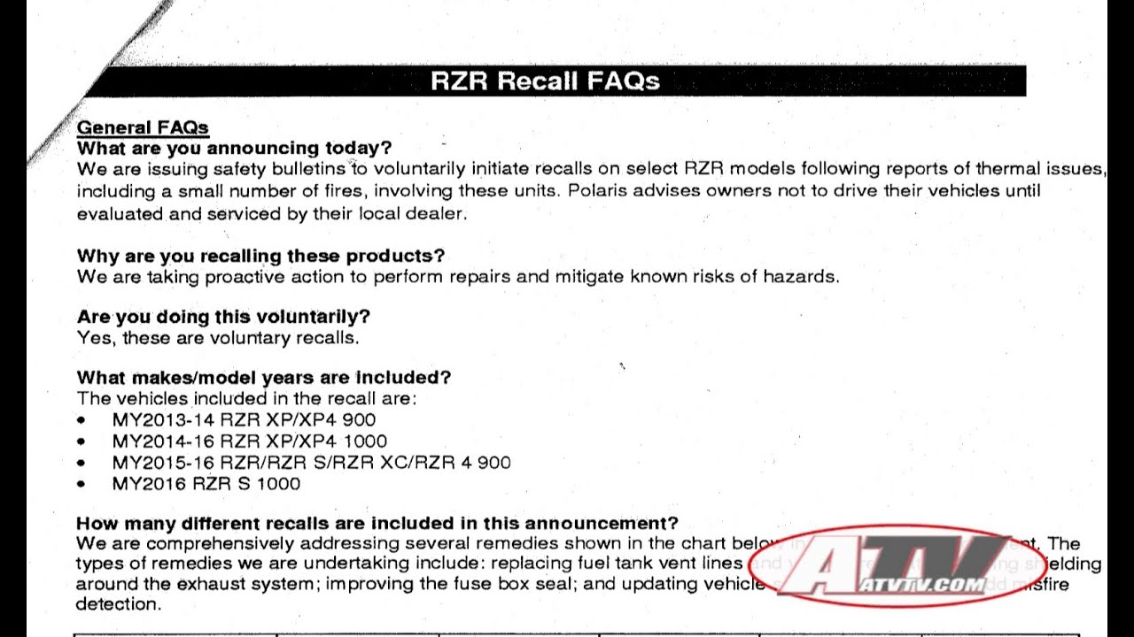 atv television latest news polaris rzr recall information [ 1280 x 720 Pixel ]