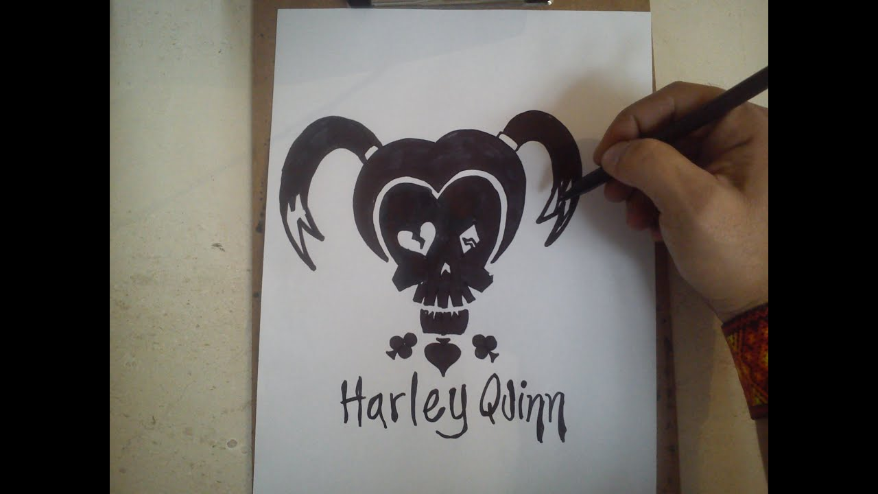 Harley Quinn Kawaii Para Colorear: COMO DIBUJAR EL LOGO DE HARLEY QUINN -SUICIDE SQUAD / How