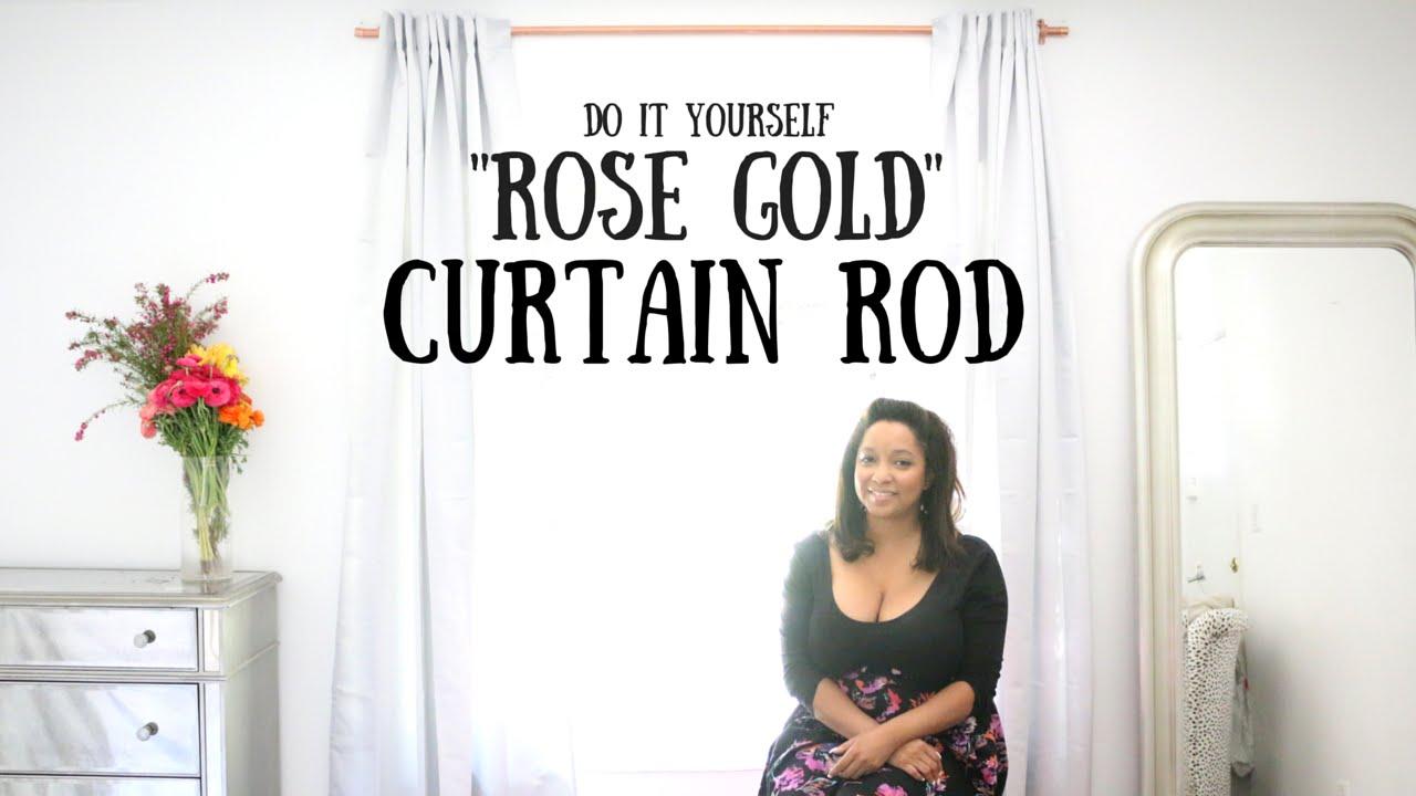 diy rose gold curtain rod room remix