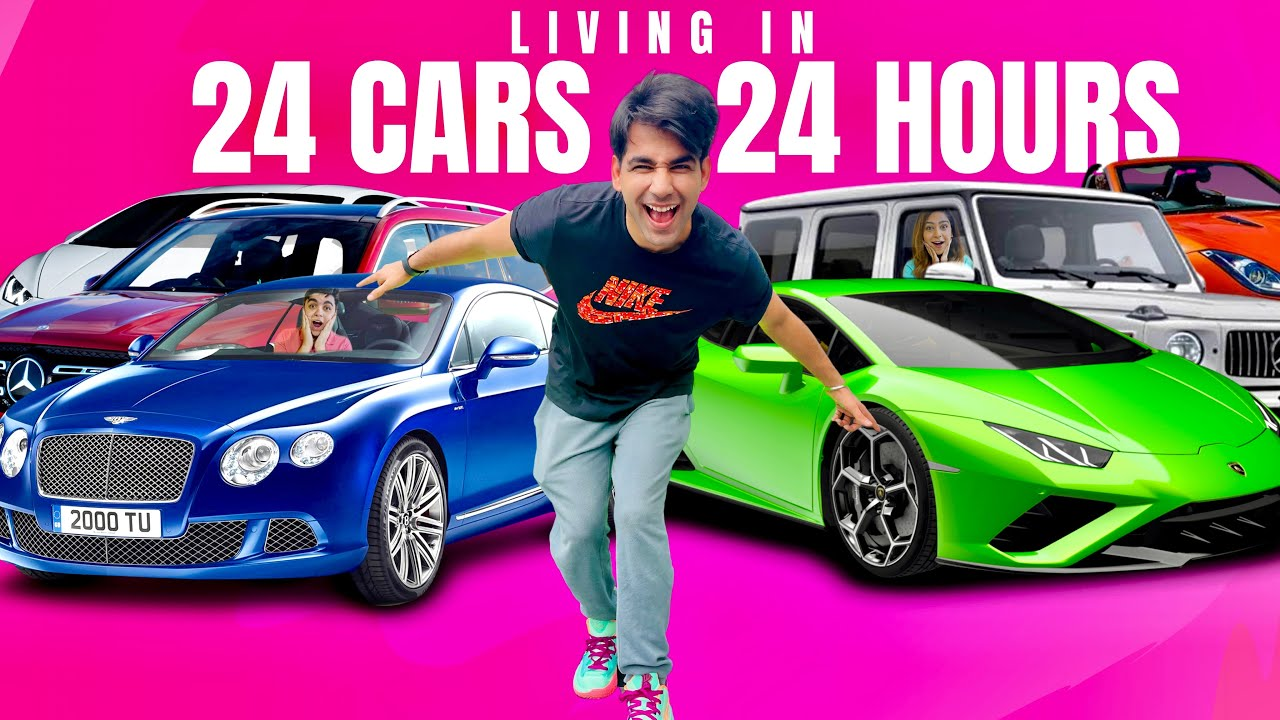 LIVING IN 24 CARS FOR 24 HOURS WITH MY BROTHER & SISTER | Rimorav Vlogs
