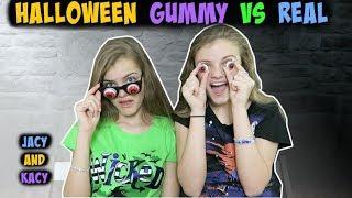 Halloween Gummy vs Real Challenge ~ Jacy and Kacy