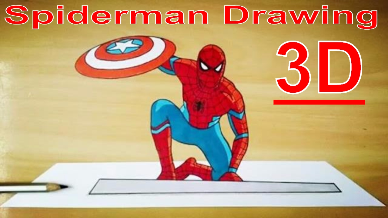 How to draw spiderman 3d 1