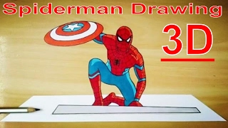 How to draw | 3D Drawing Of Spiderman from Captain America civilwar #1