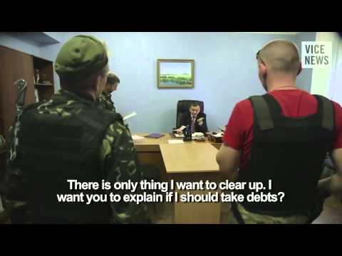 Video from Vice News Donetsk have closed Privat Bank take money from citizen for new born debts pub,