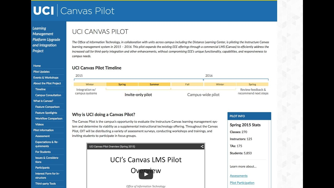 UCI Canvas Pilot: Demonstration for Students
