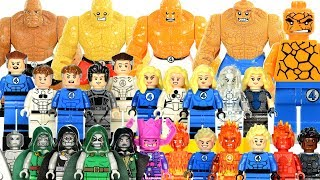 Marvel Fantastic Four Flame On! Unofficial LEGO Minifigure Collection w/ Doctor Doom & Galactus Video