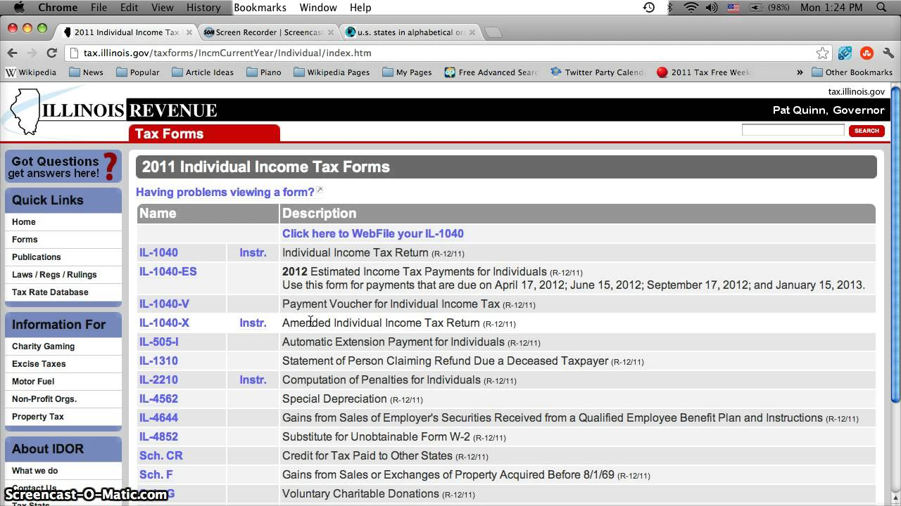 Illinois Printable Tax Forms 2012 Il 1040 Online Print Individual