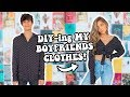 DIYing my boyfriends clothes (how to make boring clothes cute)