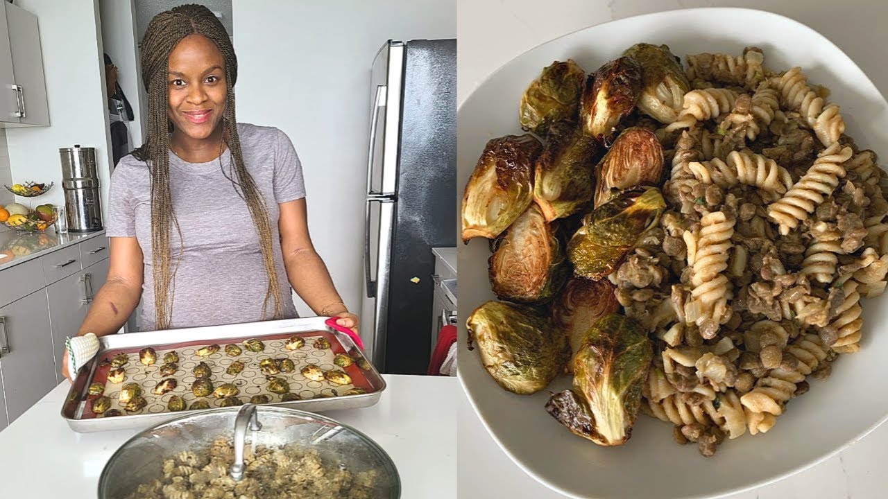 Easy & Healthy Vegan Lunch Recipe | Best roasted Brussel Sprouts [Cook with me]