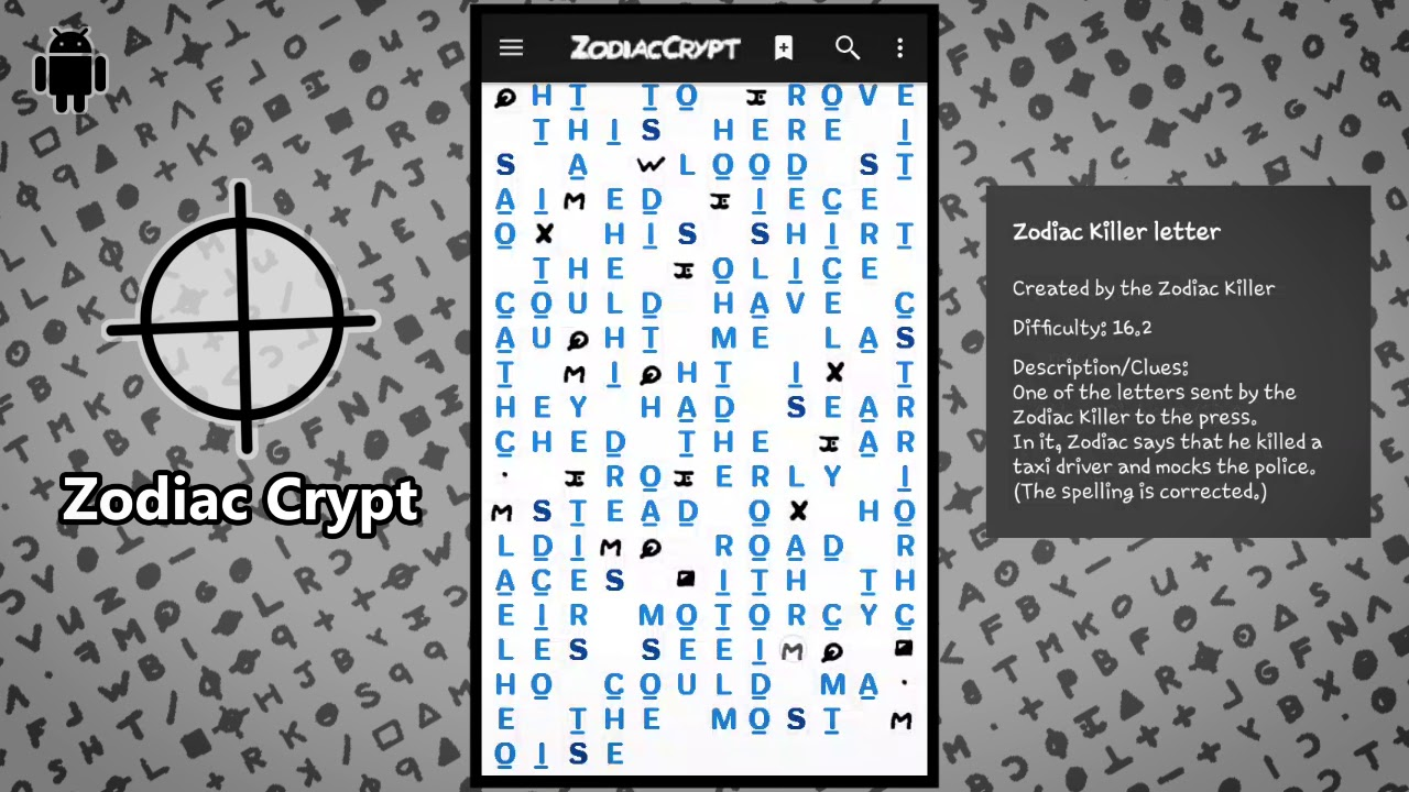 Zodiac Crypt - Solve ciphers and create your own cryptograms