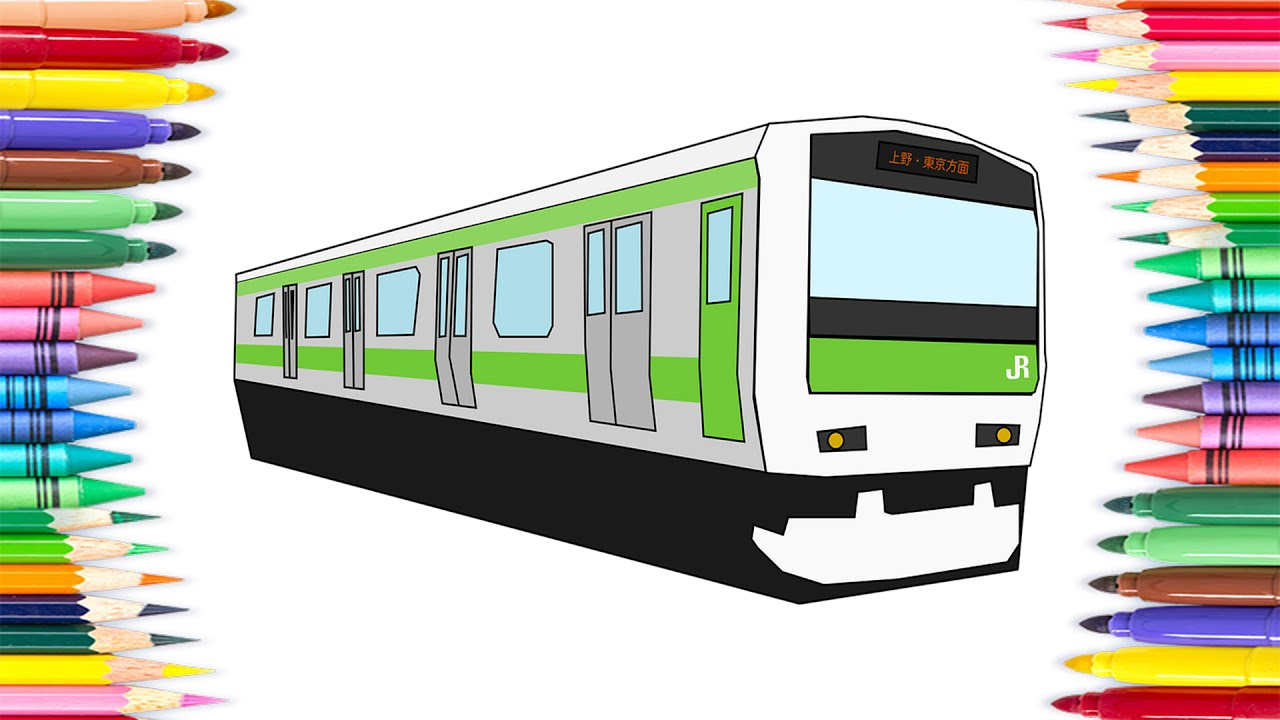 How to Draw Tram Transport Colouring Book for Kids | Learning ...