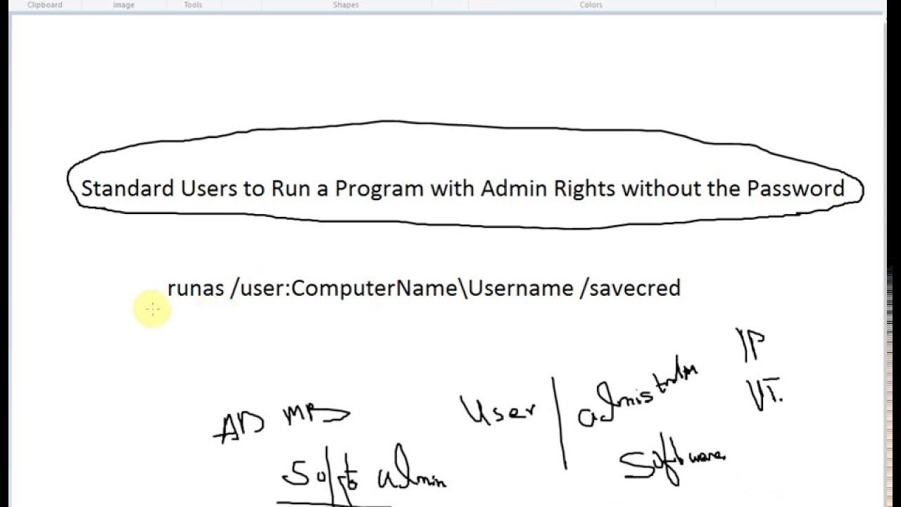 Standard Users to Run a Program with Admin Rights without the Password