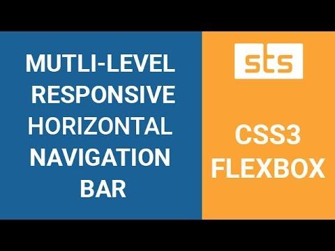 CSS3 Flexbox Responsive Horizontal Navigation Menu Bar - Flexbox Multilevel  Nested Submenu
