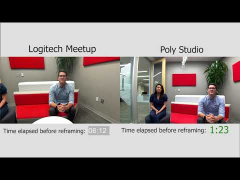 Poly Studio vs  Logitech MeetUp Group Framing Demo