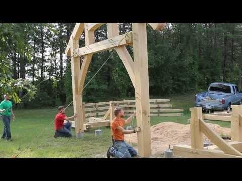 Raising Of A Timber Frame Picnic Pavilion