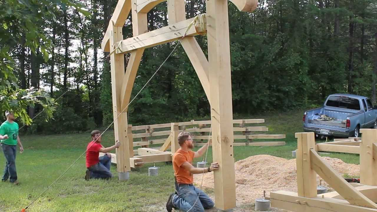 Raising Of A Timber Frame Picnic Pavilion Youtube
