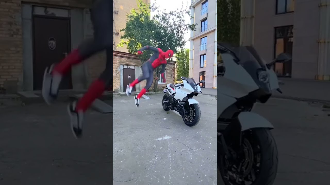 Download SPIDER-MAN DOES A FLIP THROUGH A MOTORCYCLE