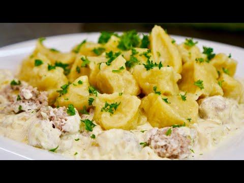 Картофельные Галушки с Вкусной Мясной Подливой | Немного Напоминают ПЕЛЬМЕНИ - Видео с ютуба
