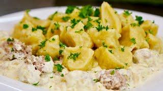 Картофельные Галушки с Вкусной Мясной Подливой | Немного Напоминают ПЕЛЬМЕНИ