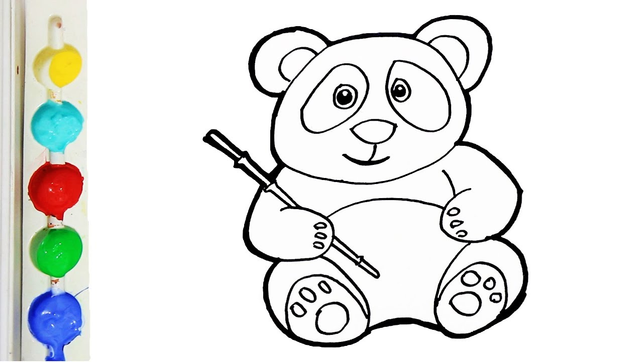 Drawing And Coloring Cute Panda For Kids Toddlers Coloring Pages For Kids