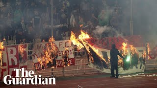 violence and teargas forces panathinaikos v olympiakos derby to be abandoned
