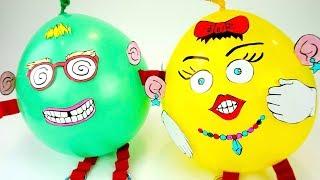 Забавная игрушка с воздушными шариками, учим цвета