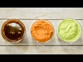 3 Chutneys Recipe | Meethi Chutney, Allam / Ginger Red Pachadi, Curry Leaf-Cashew Green Chutney