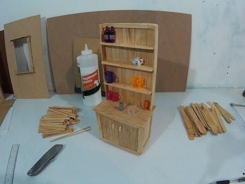 Mueble de cocina para muecas hecho con palitos parte 1