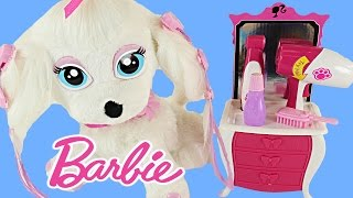 BARBIE Glam Up Your Puppy - Color Change Hair, Nails + Eyeshadow Barbies Pampered Pup Salon Toy