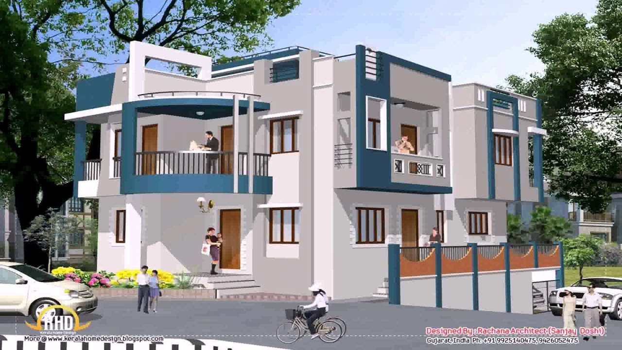 Indian home design front view youtube for Indian house front view