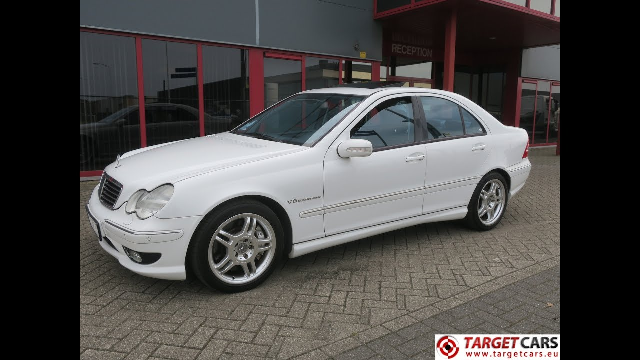 751196 mercedes c32 amg 3 2l v6 kompressor 354hp aut 07 01 white 53640km lhd youtube. Black Bedroom Furniture Sets. Home Design Ideas