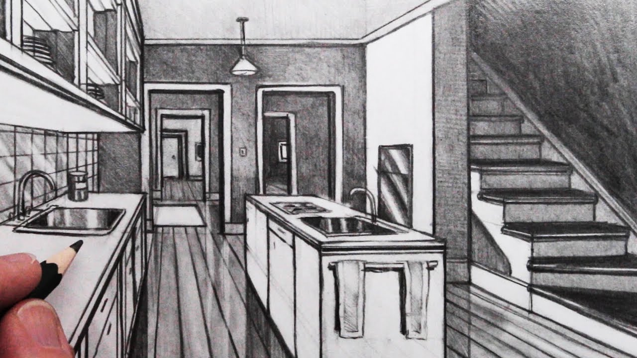 How To Draw A Kitchen Room In 1 Point Perspective Youtube