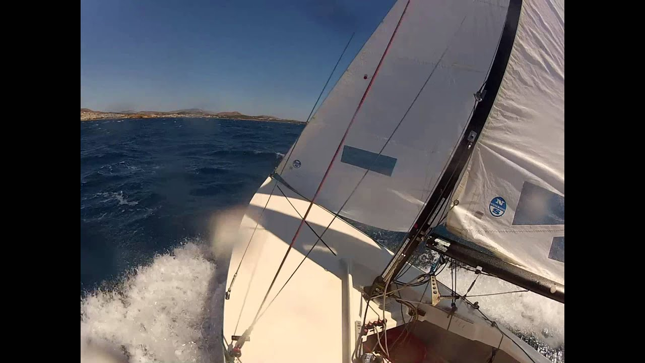 Don Wood Athens >> Lightning Class boat sailing in 25+ knots wind force - YouTube